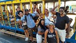 Group from USA visiting Santa Teresa area and the tram