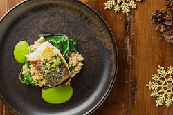 Roasted cod loin, Hazelnut compound butter, winter greens, barley risotto, fennel