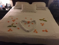 Super King Sized Bed Decorated For Our Honeymoon.