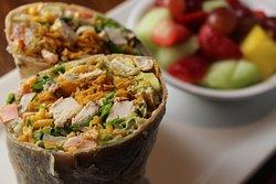 Chicken Fresca Wrap with Fresh Fruit
