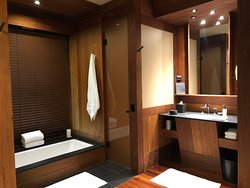 Spacious bathroom with great tub views and large adjacent closet