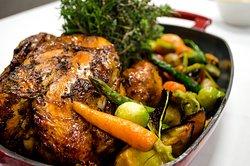 Pollo de campo + Verduras asadas + Arroz salvaje (Para 2 )