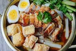 Guay-Jub: Guay-Jub noodles with crispy pork, tofu, boiled egg in a five-spice soy broth