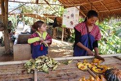 Preparing fruit for morning feeding session.