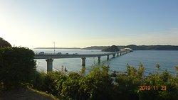 駐車場から見た角島大橋