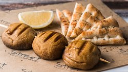 Grill Mushrooms - Handmade Souvlaki on a Skewer (includes bread or pita bread)