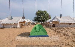 Mobile camping on ground of campsite.