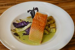 Fillet served with charred cabagge, sautéed potatoes and jalapeño beurre blanc - Grilled Salmon