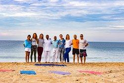 The Students with the teachers Joseph and Krishina at beach training.