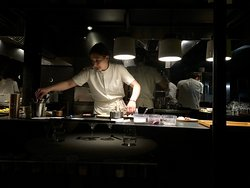 Great views of the kitchen and all the action with each course.