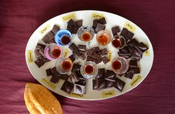 The sampling plate at Ixcacao Chocolate