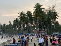 Crowd at the Corbyn's Cove beach