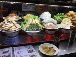 Food stall in market serving vegetarian food
