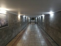 Entrance tunnel towards the ground floor level of the TV tower