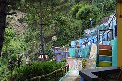 A walk along side a mountain resort