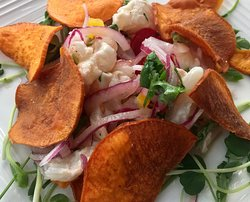 Ceviche with house made sweet potato chips