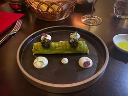 Red prawns and crab meat-avocado roll with caviar, green apple and lime wasabi cream.