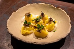 Home made Tortellini with mascarpone sauce and truffles.