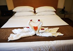 Excellent room cleaning service with beautiful swans design.