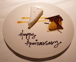 Our surprise anniversary cake and sorbet from the staff who served us!