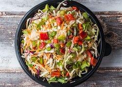 Fresh Salad Politiki (white & red cabbage, carrot, celery, green & red pepper, garlic oil, vinegar)