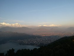 Panorama Annapurna Mountain view & Fewa Lake view from World Peace Pagauda, Pokhara. www.mountainkingtreks.com ( info@mountainkingtreks.com
