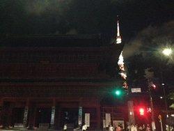 門と東京タワーの夜景の様子です。