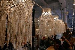 Lots of macrame lamps