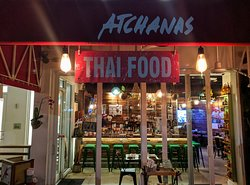 Here's a view inside from the sidewalk of our Thai food restaurant.