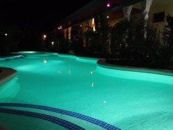 Hotel Lagoon Pool Lights at Night - Mint