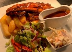 Home made Slow cooked ribs, Chips & Salad