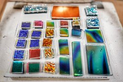 There it goes! Some beautiful dichroic glass, waiting to be 'cooked'!