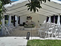Hotel Garden Area - Set up for Outdoor ceremony area