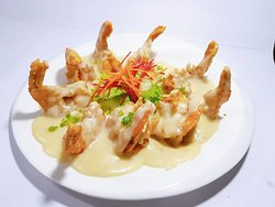 Crispy Tiger Prawn with Mint Cheese Sauce