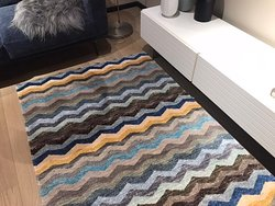 Modern and contemporary chevron abstract rug  Silk and wool Handknotted