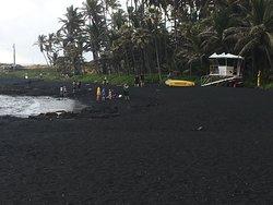 Punaluu black sand beach Life Guard hut.