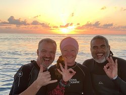 Before our night dive - The only person not in the picture is the boat captain.