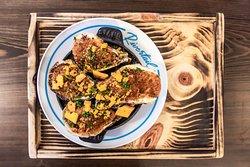 "Broiled Oysters ""Concha""; parmesan, kimchi, horseradish, cheez-its"