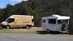 Our van at the Orford Tourist information Bay at the start of the Great Eastern Drive.