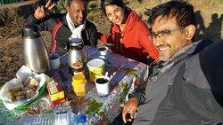 Breakfast spread on the mountain top!