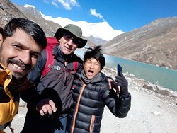 at the Gokyo Lake with guide Ananta and Porter Ganeh. Thank you so much!