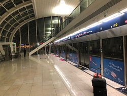 The Red Line on the Dubai Metro system (subway): on the platform. It was a 5 min ride form the airport to the hotel.