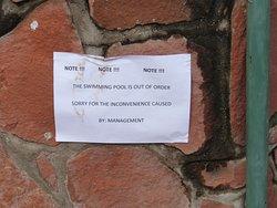 Notice at swimming pool