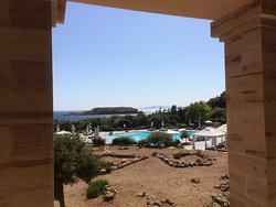 The pool area from the main hotel building