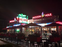 1950's Art Deco diner. Located next to LGA LaGuardia airport in Astoria Queens. Jackson Hole burgers is famous in New York.