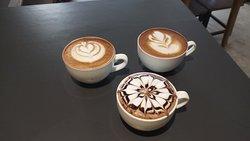 three different coffee art style