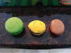 A perfectly formed macaron--and two, well, not so perfect