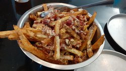 Platypus Brewing: Fries with cheese and bacon topping