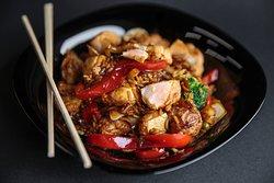 Salmon rice with teriyaki sauce