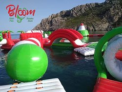 bloom water park !!!! you will find it at the right end of Tsampika Beach in Rhodes Isalnd !!!